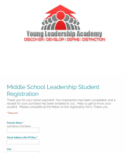 Screen Shot Registration Form on Site